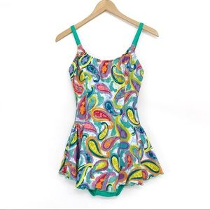 DIPPIN DAISY'S Paisley Swim Dress Green 8